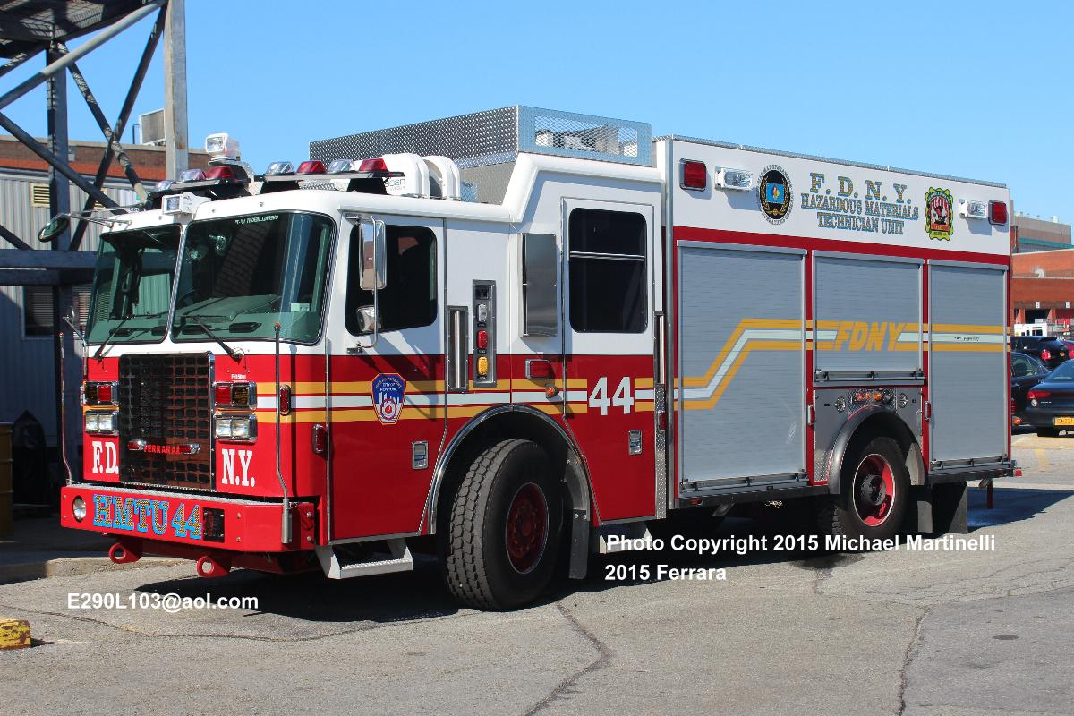 "... are the wrong font; ""HMTU 44"" on the bumper should be white to match  the Field Comm and Collapse Rescue units; ""FDNY"" lettering in stripe should  be red"